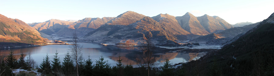 View of the Five Sisters and Loch Duich from the Glenelg Road