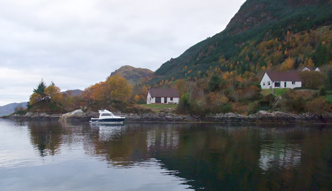 Seaside and Shoreside Cottages viewed from Loch Duich